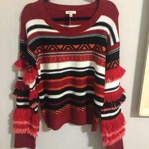 ⚡️VINTAGE⚡️ oversized sweater w yarn fringe detail